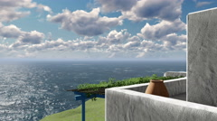 Balcony overlooking the aegean sea 4K Stock Footage