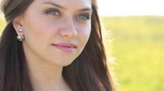 Beautiful girl walking. Summer mood - stock footage