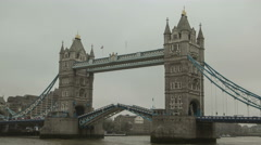 London Tower Bridge Opens & Closes, Raised & Lowered - stock footage