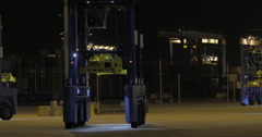 Straddle Carrier Ready To Work In The Port (4K) Stock Footage