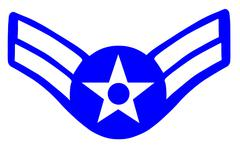 Insignia for the rank of Airman First Class in the United States Air Force - stock illustration