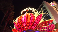 4K ES: Main Neon Marquee of the Flamingo Hotel on The Las Vegas Strip Stock Footage