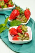 Appetizing strawberry in the bowl - stock photo