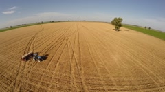 Sowing Wheat Fields Argentina. Aerial Drone Image - stock footage