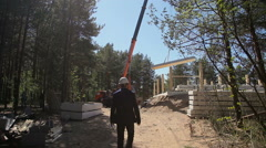 The architect on the construction site Stock Footage