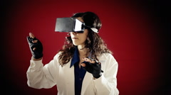 Virtual reality doctor study records Stock Footage