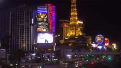 4K: The Eiffel Tower Takes Point in the Las Vegas Strip Skyline Stock Footage