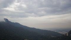 Aerial Christ de Redemer (Cristo Redentor) hills and forest Rio de Janeiro city Stock Footage