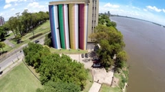 Colorful Silos Aerial Image Stock Footage