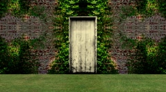 Garden Door Open to a Blue Screen Background - stock footage
