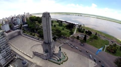 Argentina Flag Memorial and Rosario City Aerial View Stock Footage