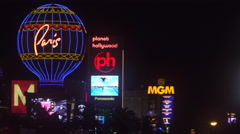 4K ES: The Las Vegas Strip Skyline from the Paris Hotel to the MGM Grand Stock Footage