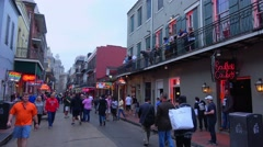 Famous Bourbon Street in New Orleans French Quarter - stock footage