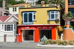 Colourful Oriental Bay architecture, Wellington, N.Z. - stock photo