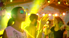Cool girl dances at concert Stock Footage