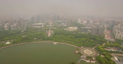 Shanghai Century Park track forward over the lake - stock footage