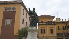 Panoramic view of Piazza Ghislieri with Pope Pius V statue in Pavia, PV, Italy - stock footage