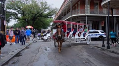 Horse-drawn cab in French Quarter New Orleans Stock Footage