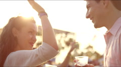 Couple high fives and dances Stock Footage