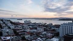 San Francisco Bay Dawn Time Lapse of Cruise Ship Docking Stock Footage