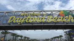 Welcome to Daytona Beach sign on International Speedway Blvd - stock footage