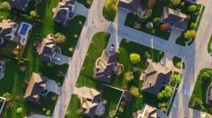 Beautiful, suburban neighborhoods at daybreak, aerial view - stock footage