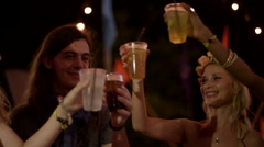 Group of friends have a toast at a party Stock Footage