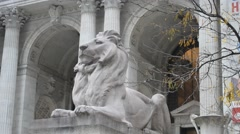 New York City Public Library Lion Pan-Up Stock Footage