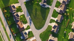 Beautiful, suburban neighborhoods, early morning, aerial view Stock Footage