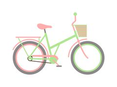 Stylish womens green bicycle isolated on white background wheel pedal Stock Illustration