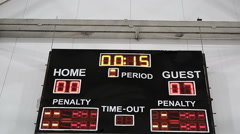 Game results displayed on scoreboard, final countdown, guest team wins match Stock Footage