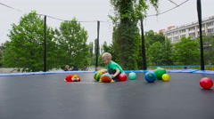 Child on the Trampoline Stock Footage