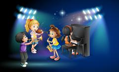 Kids playing music on stage Stock Illustration