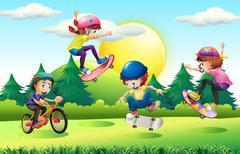 Children skateboarding and riding bike in park Stock Illustration