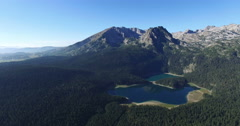 Aerial view of Black lake in Durmitor national park in Montenegro Stock Footage