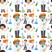 Seamless male and female scientists Piirros