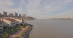 George Washington Bridge aerial shoot over Hudson river - stock footage
