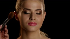 Work makeup artist and model. Black. Closeup Stock Footage