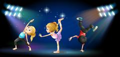Three kids dancing on the stage Stock Illustration