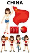 China representative and many sports Stock Illustration