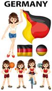 Germany representative and many sports Stock Illustration