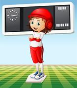 Girl in baseball outfit in the field Stock Illustration