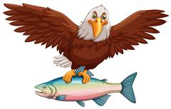 Eagle flying with fish in claws Stock Illustration