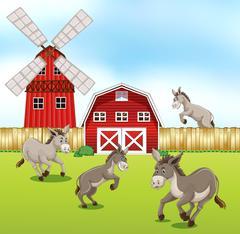 Donkeys in the farmyard Stock Illustration