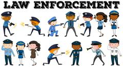 Policeman and law enforcement poster Stock Illustration
