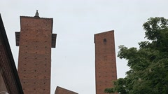 Medieval towers behind the University in Pavia, PV, Italy Stock Footage