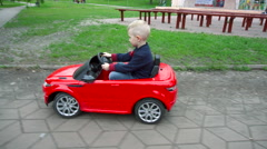 Child Goes on a Big Beautiful Car Stock Footage