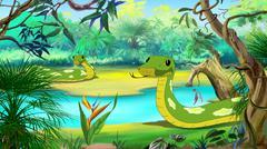 Green Anaconda in the Amazon River - stock illustration