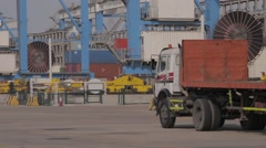 Empty Lorry Trucks In Port Warehouse Stock Footage