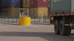 Lorry Trucks Driving For Unloading - stock footage